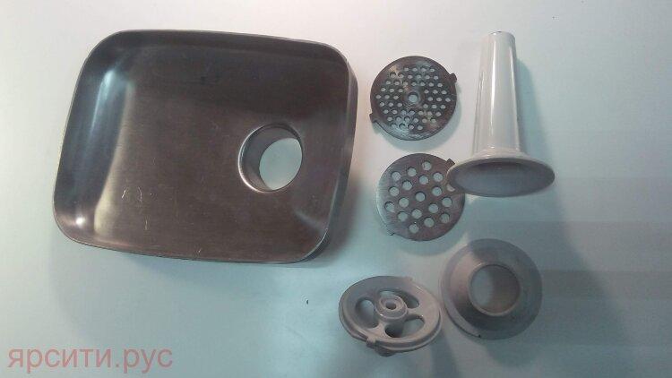Поддон + 2 решетки и толкатель с насадками для Rolsen Мясорубка Mg-2055Mr Б/у арт. 10390